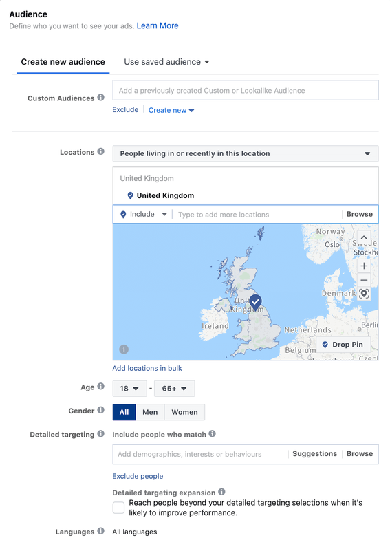 Facebook Core Audience Targeting Settings
